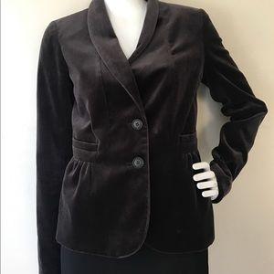 J. Crew Velour Short Jacket Blazer Dark Brown